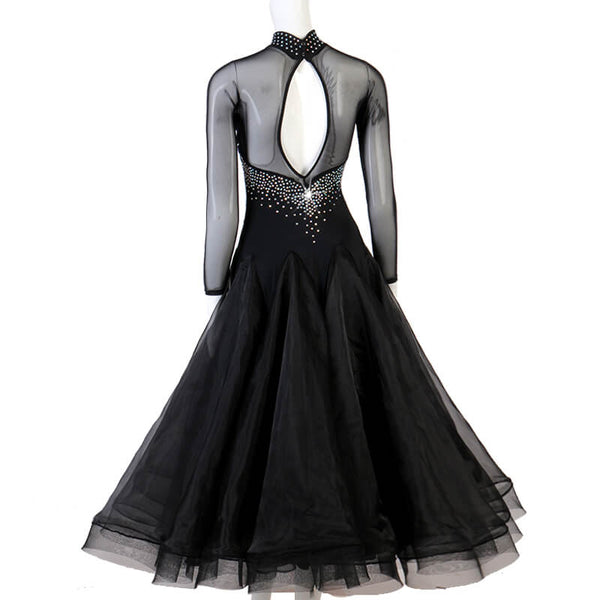 A-Line Long Ballroom Dress with Rhinestones