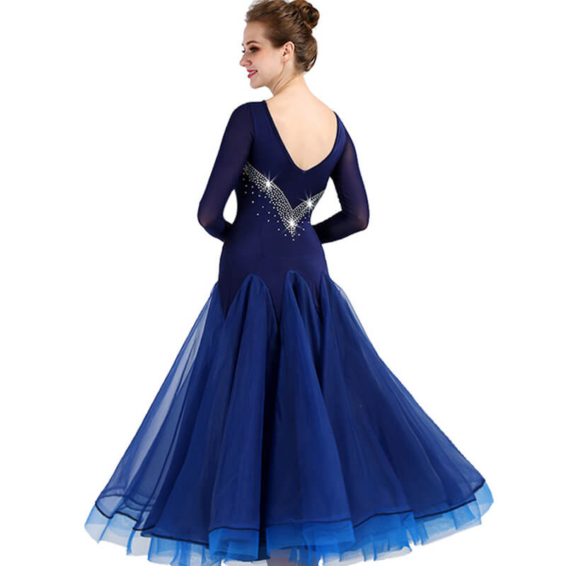 A-Line Long Sleeve Jewelled Ballroom Dress