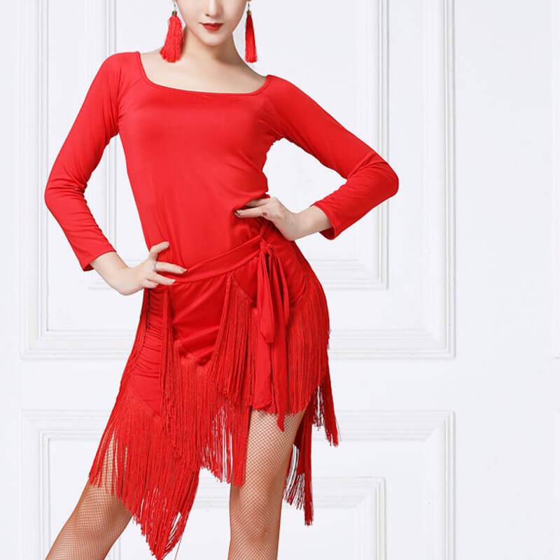 A-Line  Long Sleeve Latin Dress with Tassel