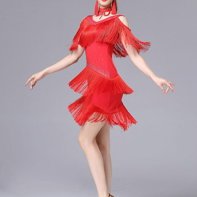 A-Line  Long Sleeve Latin Dress with Tassels
