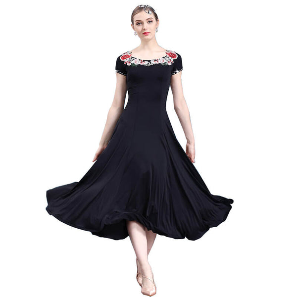 A-Line Maxi Ballroom Dress with Flowers-Black