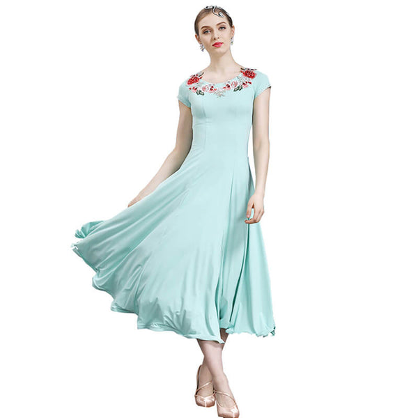 A-Line Maxi Ballroom Dress with Flowers-Green
