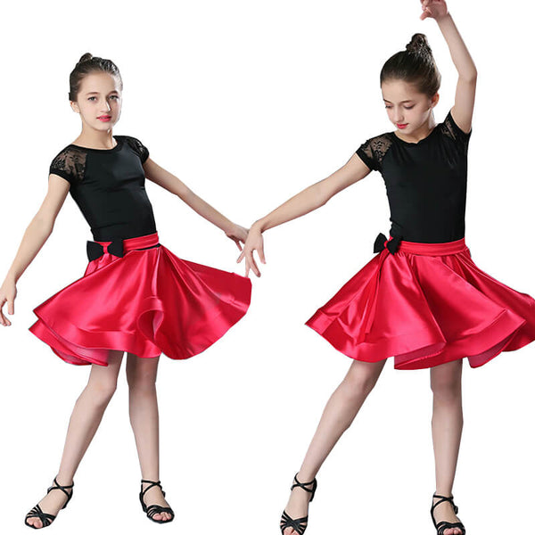 A-Line Short Latin Dress with Bows