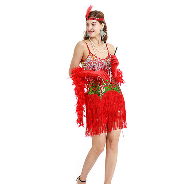 A-Line Spaghetti Strap 1920s Dress with Tassels