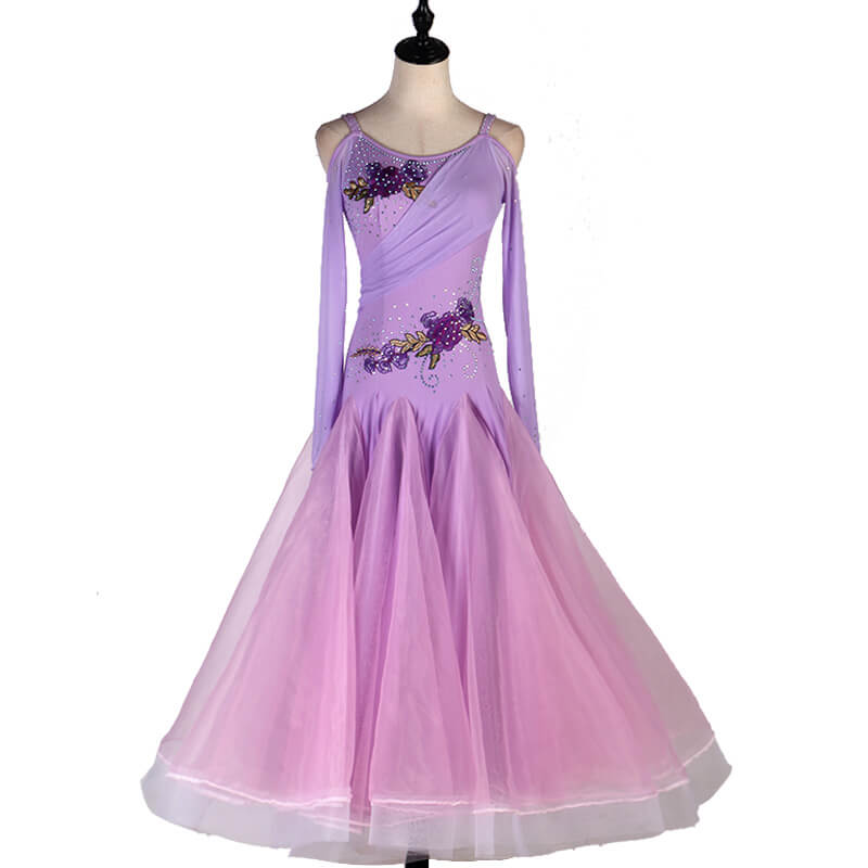 A-Line Spaghetti Strap Long Sleeve Ballroom Dress-Purple