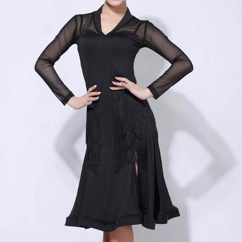 Asymmetric Black Knee-Length Latin Dress