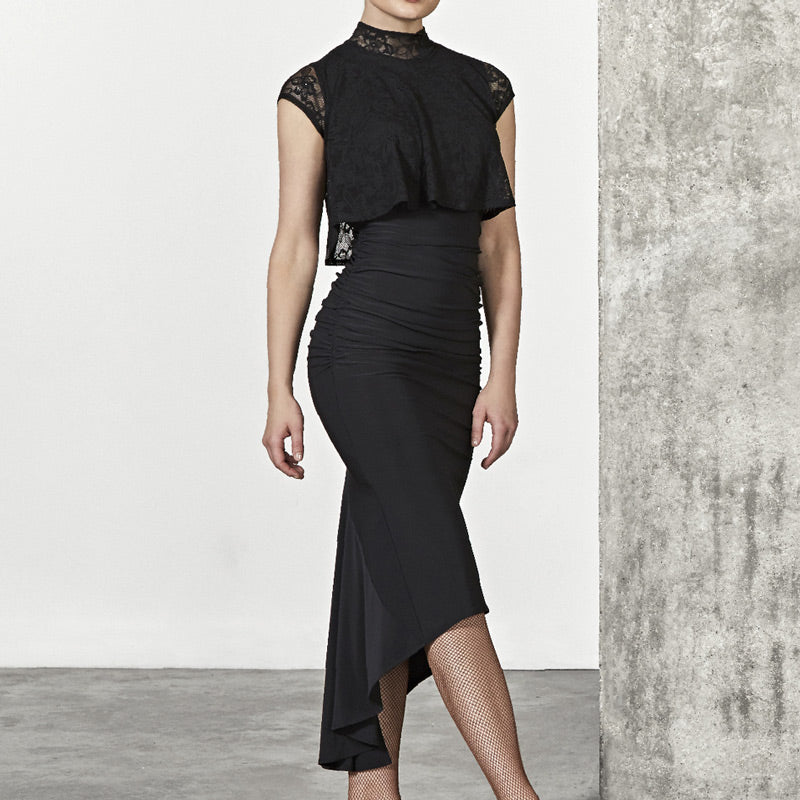 Asymmetric Calf-Length Latin Dress with Lace