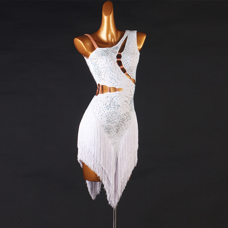 Asymmetric Jewelled Sleeveless Latin Dress with Tassels