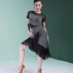 Asymmetric Patchwork Mesh Latin Dress