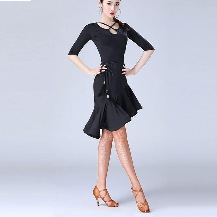 Asymmetric Soild Color Half Sleeve Latin Dress