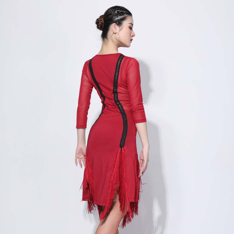 Asymmetric V Neck 3/4 Length Sleeve Dress