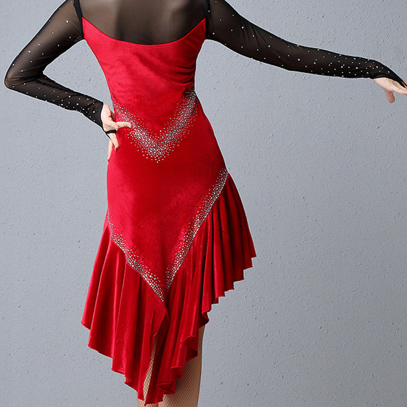 Asymmetric Calf-Length Latin Dress with Rhinestones