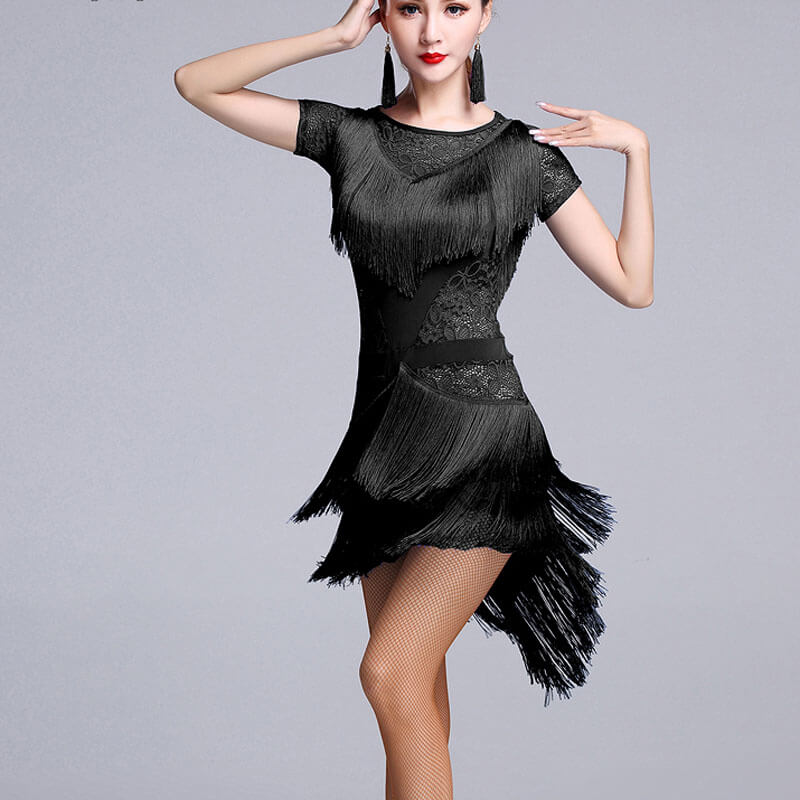 Asymmetric Crew Neck Short Sleeve Dress