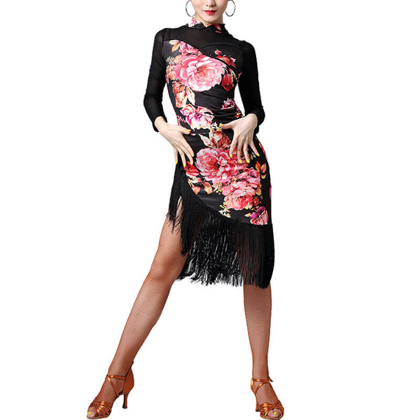Asymmetric Floral Print Latin Dress with Tassels