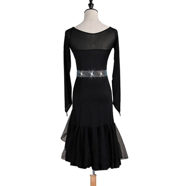 3/4 Length Sleeve Asymmetric Knee-Length Dress-Black