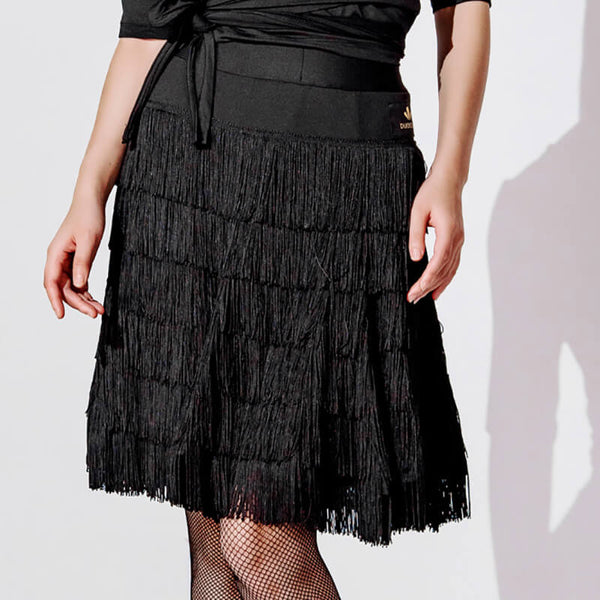 Asymmetric Knee-Length Latin Skirt with Tassels