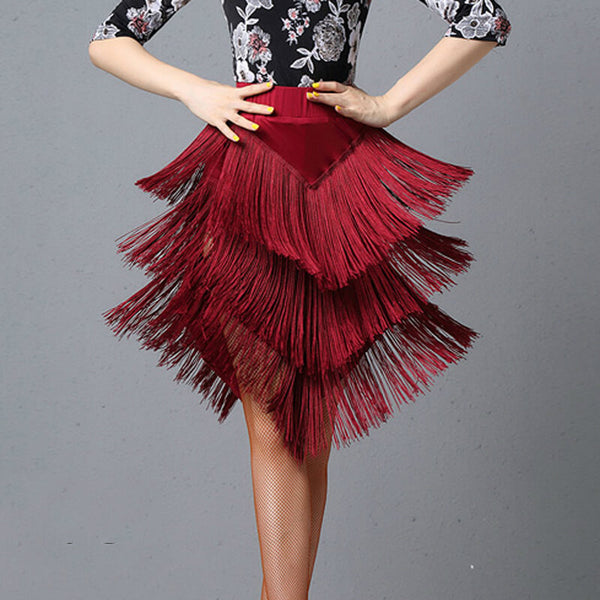 Asymmetric Latin Skirt with Tassels