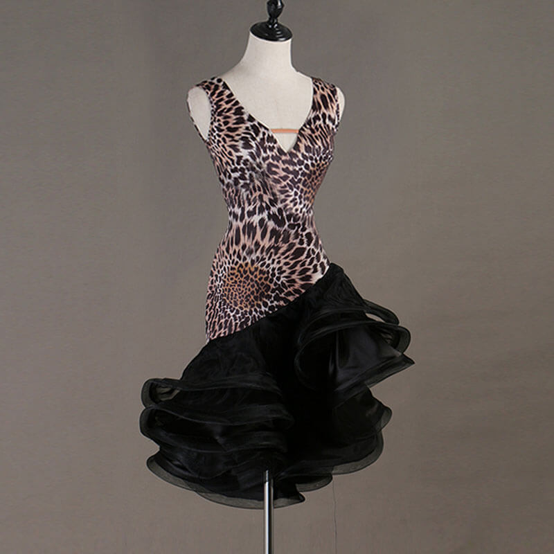 Asymmetric Leopard V Neck Latin Dance Dress-Black