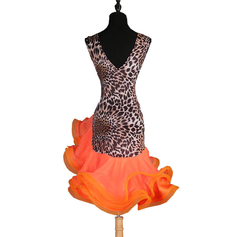 Asymmetric Leopard V Neck Latin Dance Dress-Orange