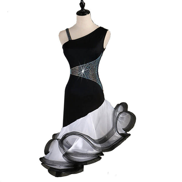 Asymmetric Rhinestone Latin Dance Dress-Black