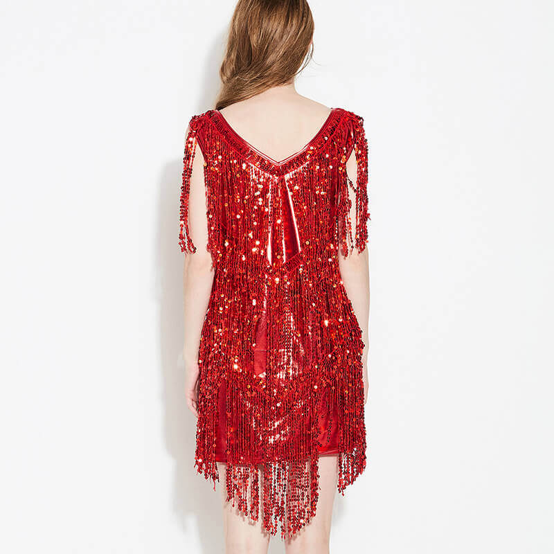 Asymmetric Sequined Latin Dress with Tassels