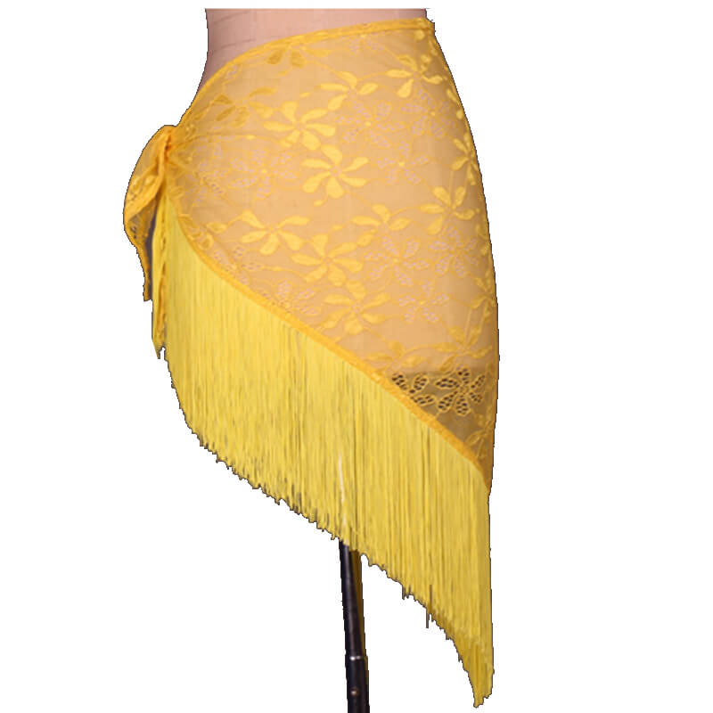 Asymmetric Short Latin Skirt with Tassels