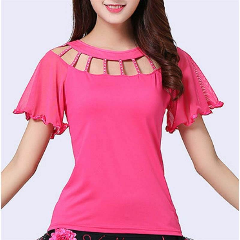Diamond Flare Sleeve Ballroom Dance Top-Pink