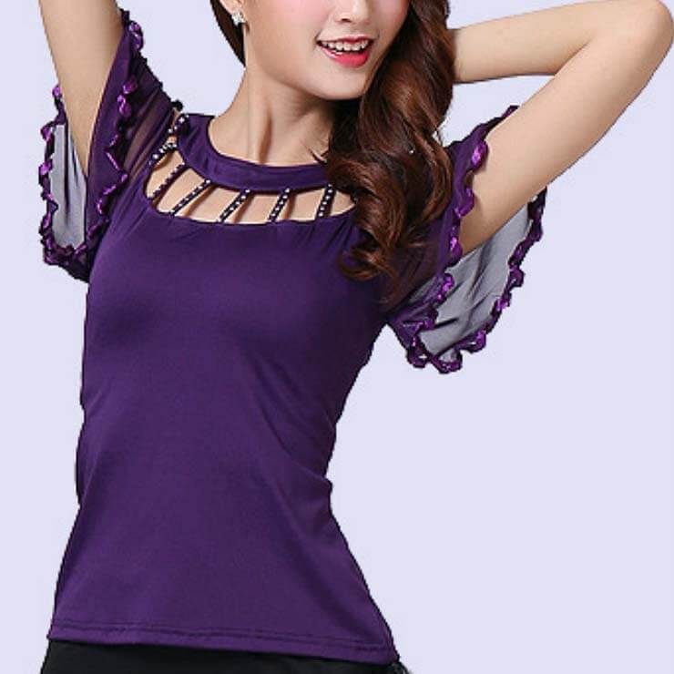 Diamond Flare Sleeve Ballroom Dance Top-Purple