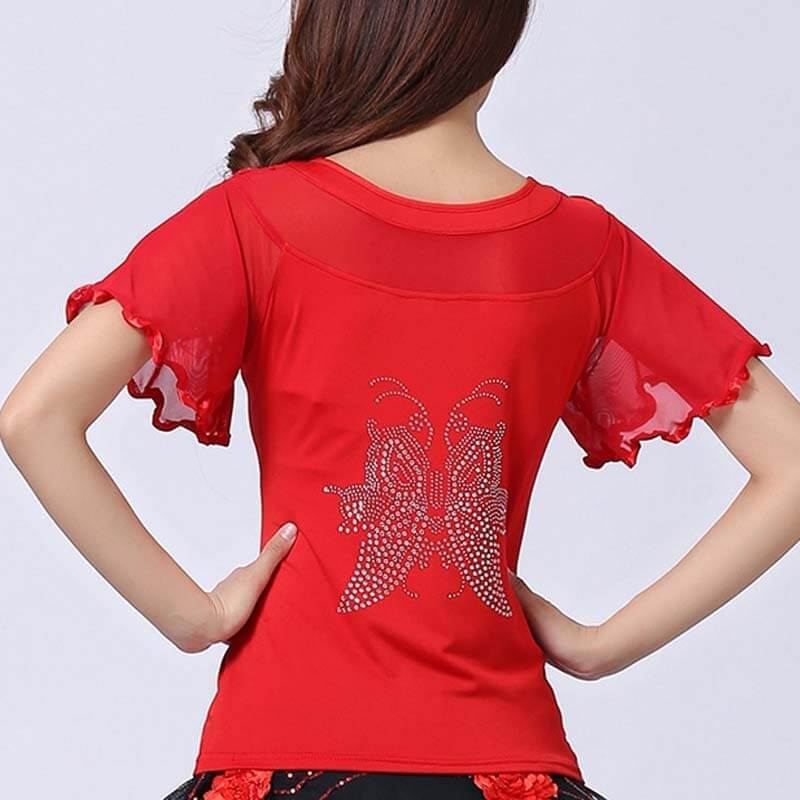 Diamond Flare Sleeve Ballroom Dance Top-Red
