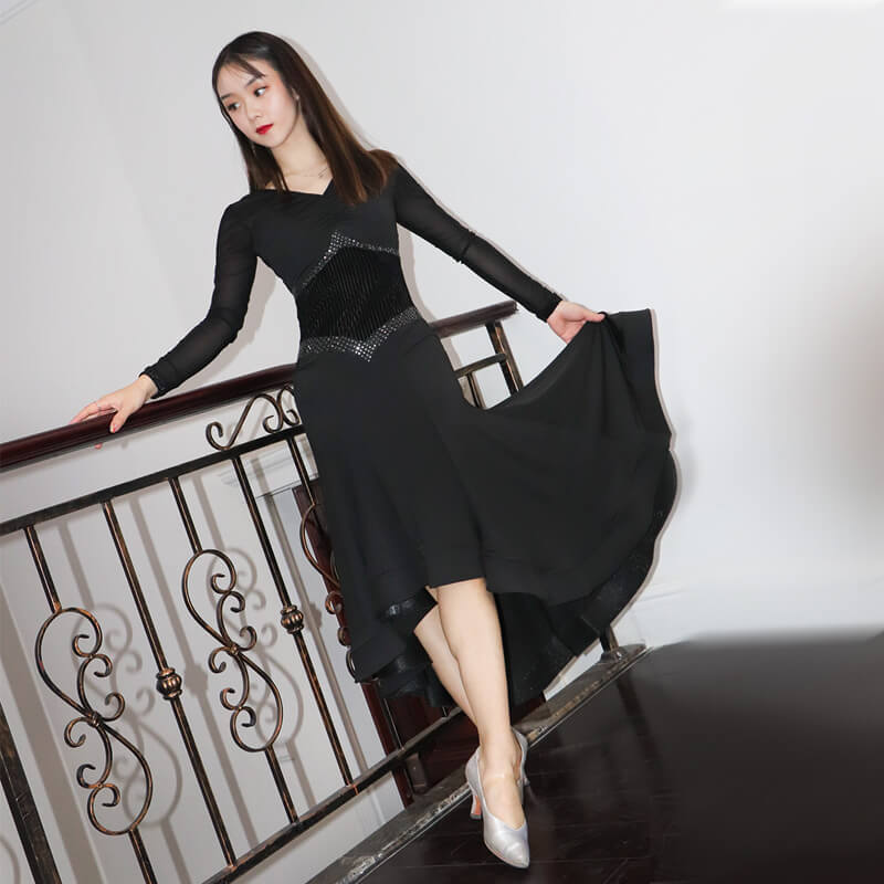 V Neck Long Sleeve Ballroom Dress with Lace