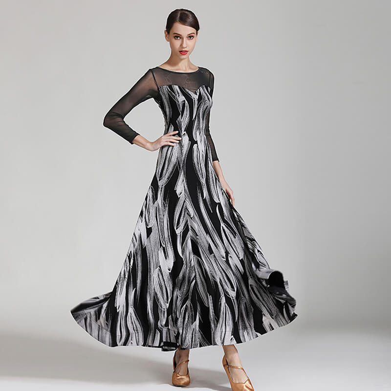 Flared Long Ballroom Dress with Mesh