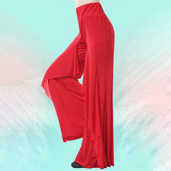 Bell Bottoms High Rise Latin/Ballroom Pants with Ruffles