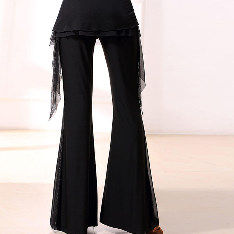 Bell Bottoms Medium Rise Latin/Ballroom Pants with Fringing