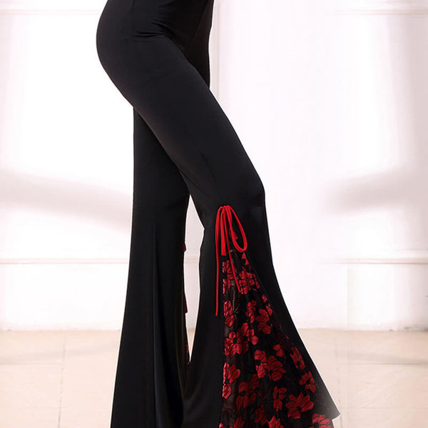 Bell Bottoms Medium Rise Latin/Ballroom Pants with Lace