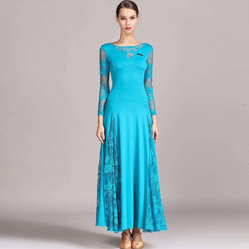 Blue lace ballroom dress
