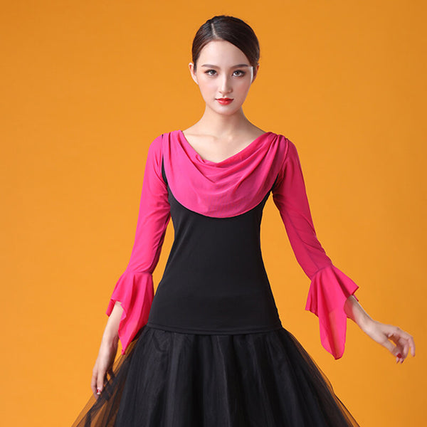 Boat Neck Long Sleeve Ballroom Top