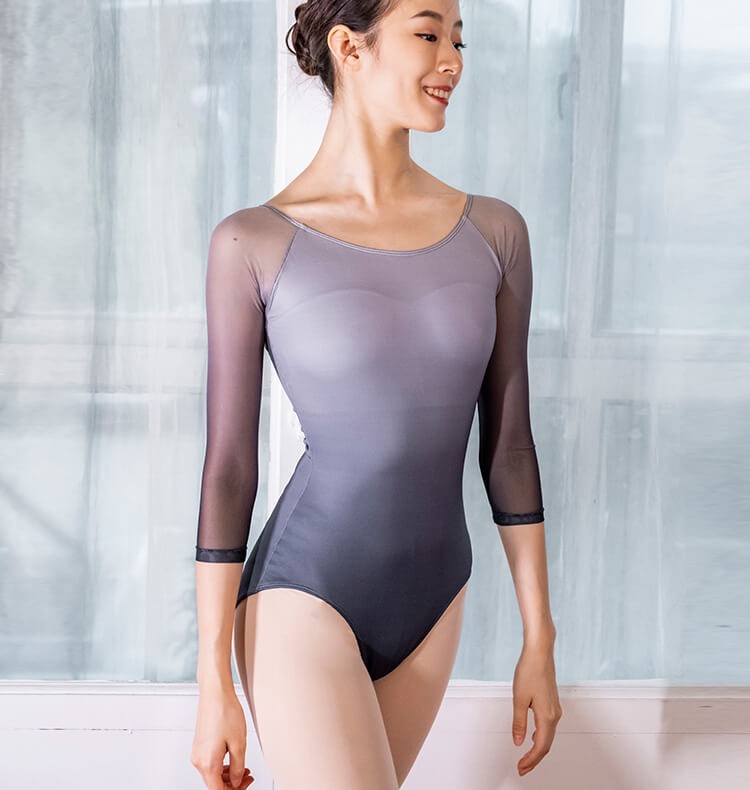 Boat Neck 3/4 Length Sleeve Ballet Leotard