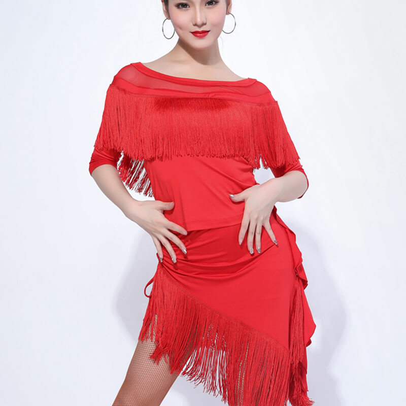 Boat Neck Knee-Length Latin Dress with Tassels