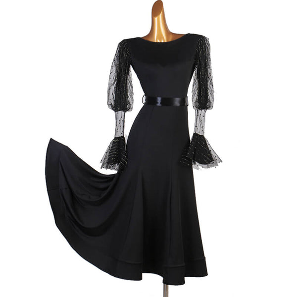 Boat Neck Long Sleeve Ballroom Dress with Mesh