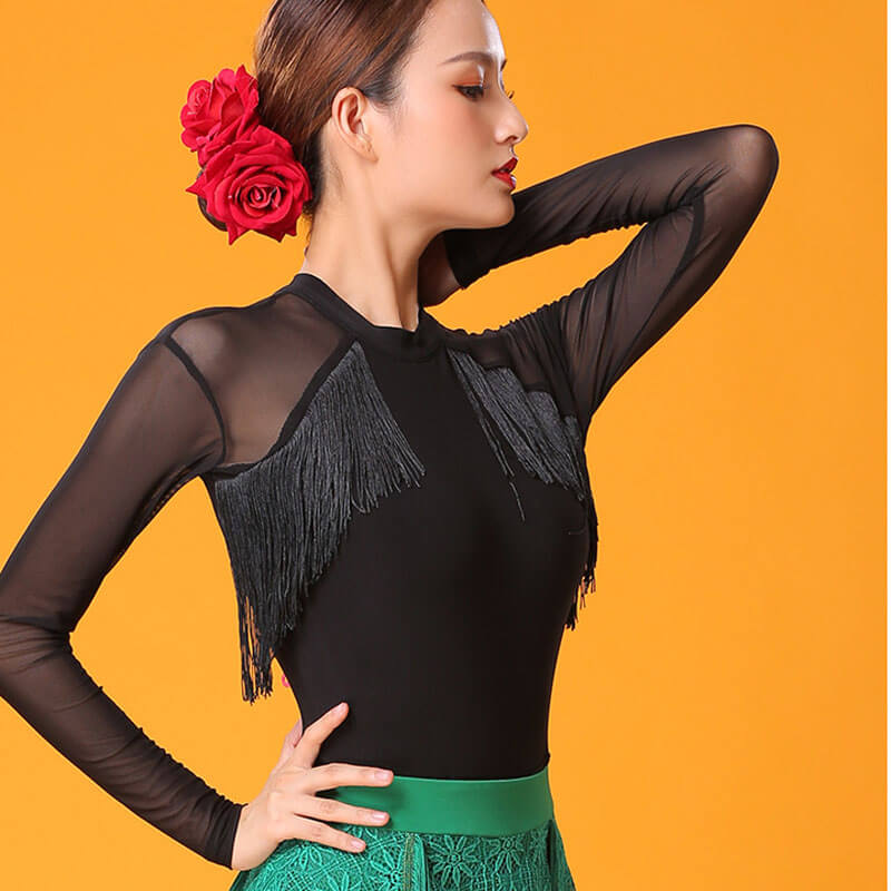 Boat Neck Long Sleeve Latin/Ballroom Top with Mesh