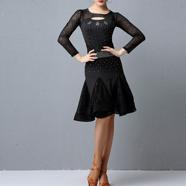 Boat Neck Long Sleeve Latin Dress with Embroidery