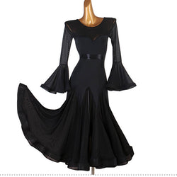 Boat Neck Trumpet Sleeve Ballroom Dress with Mesh
