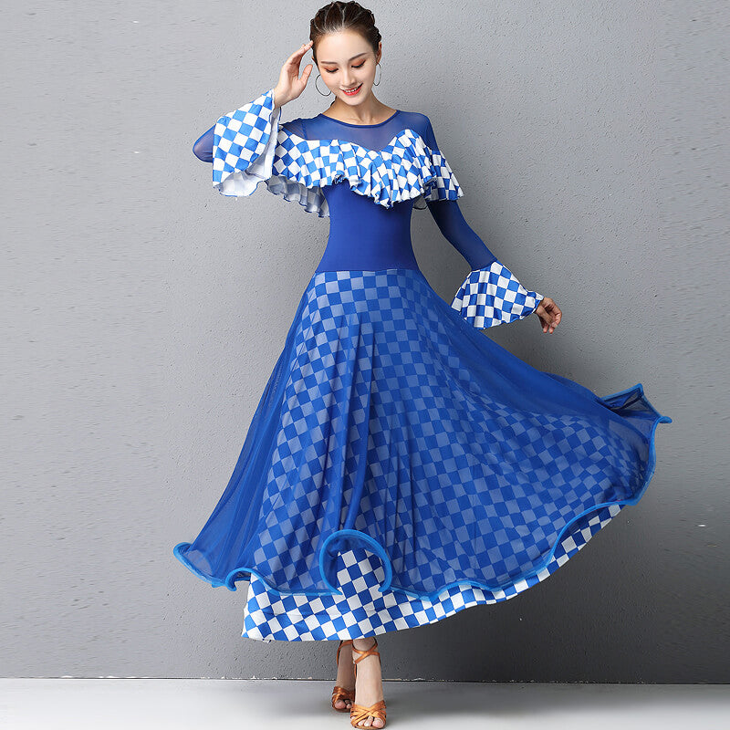 Checked A-Line Long Chic Ballroom Dress