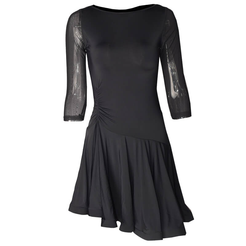 Crew Neck Flared Latin Dress with Mesh