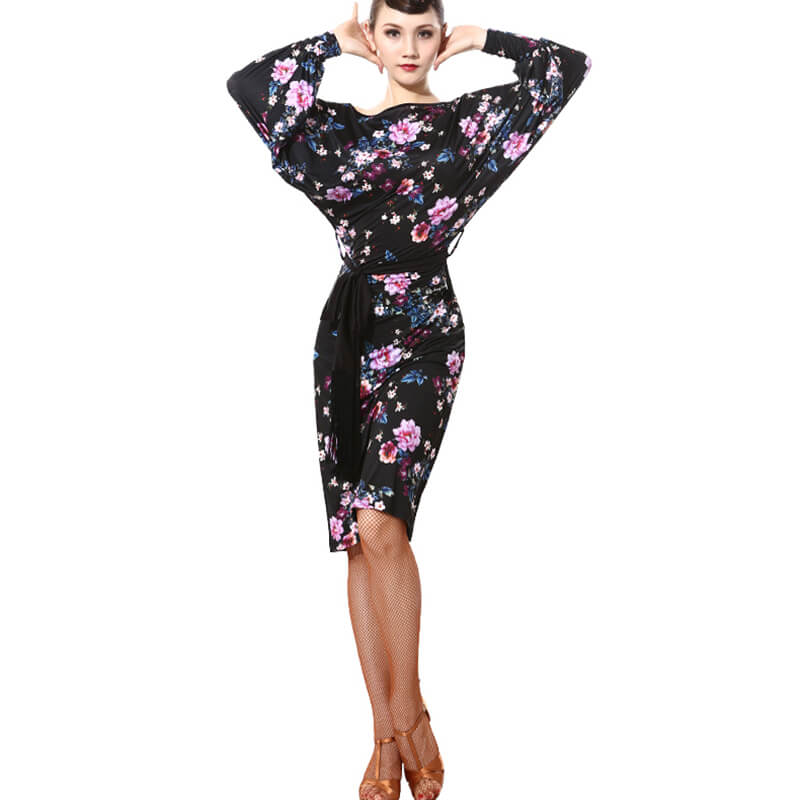 Crew Neck Floral Print Latin Dress with Belt