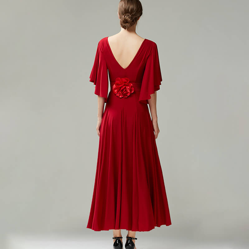 Crew Neck Flounce Sleeve Ballroom Dress with Flower Belt