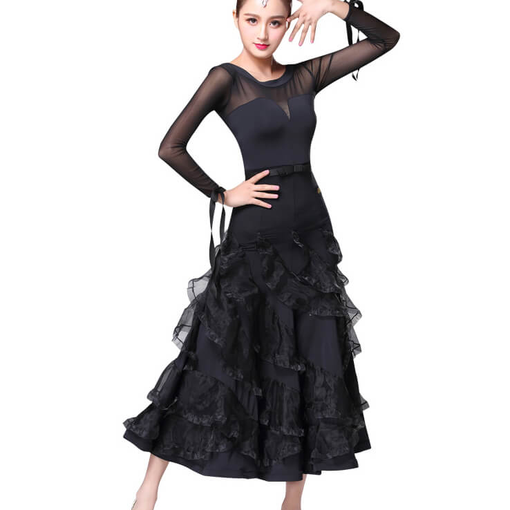 Crew Neck Long Sleeve Ballroom Dress with Ruffles