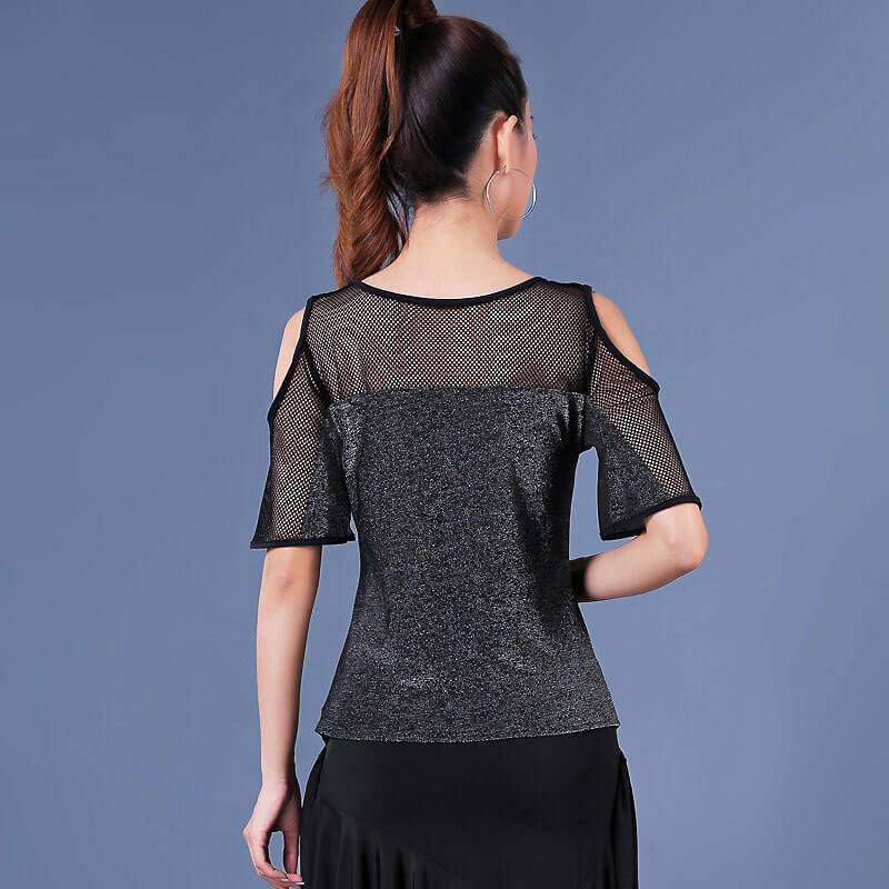 Crew Neck Short Sleeve Latin Top with Mesh