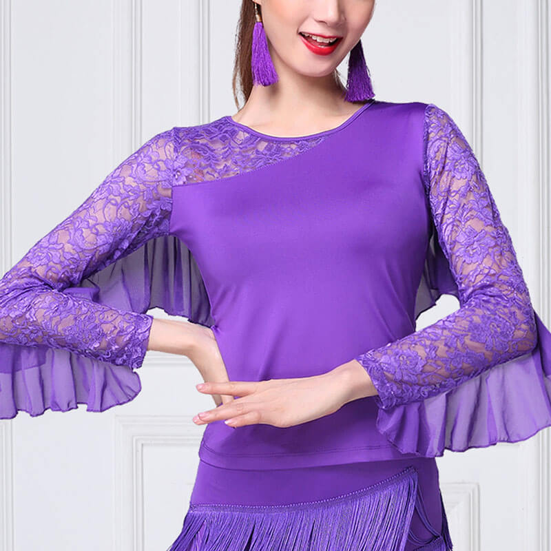 Crew Neck Latin/Ballroom Top with Fringing