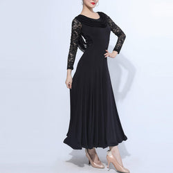 Crew Neck Long Sleeve Ballroom Dress with Lace